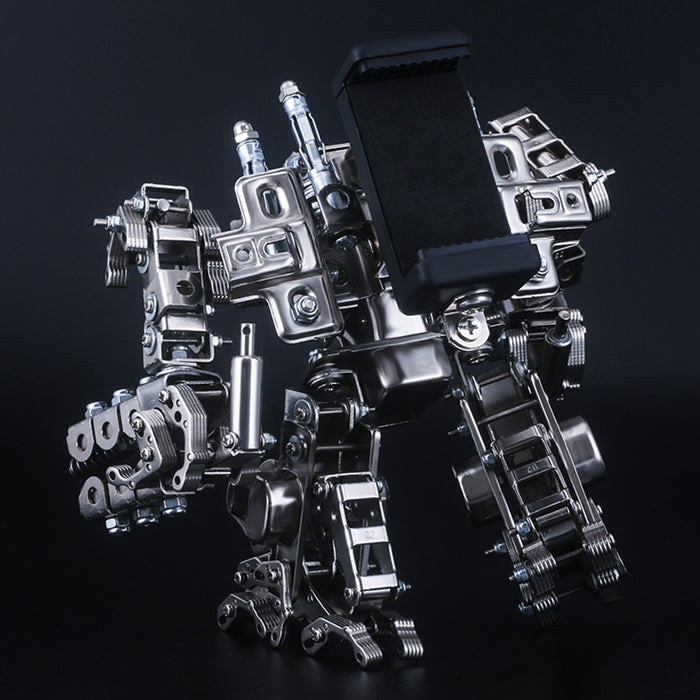 521Pcs 2in1 Multi-funtional Metal Snipper Mecha Soldier 3D Model Building Kit Assembly Phone Holder