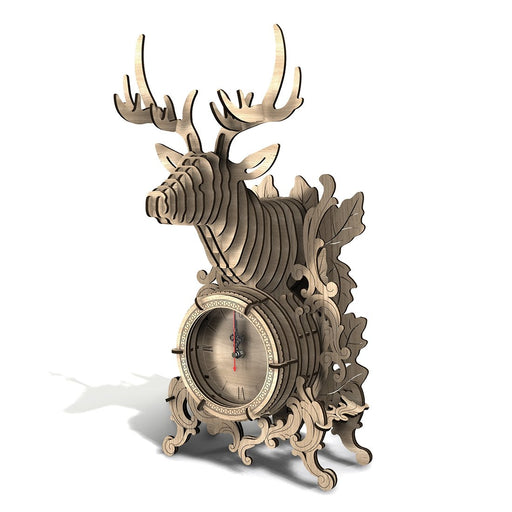 54Pcs DIY Wooden 3D Deer Shape Assembly Clock Puzzle Model Kit Table Clock