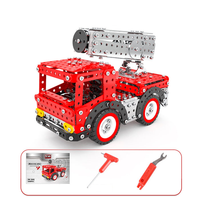 612Pcs 3D Metal Fire Truck with Extending Ladder Assembly Puzzle Toy