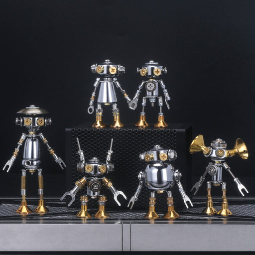 6Pcs Blind Box DIY 3d Metal  Mini White Collar Mecha Office Series Model Building Kit