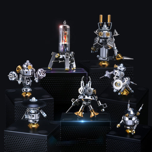 7Pcs DIY Earth Defending Special Forces Mini Mecha Assembly Metal Model Kit Blind Box