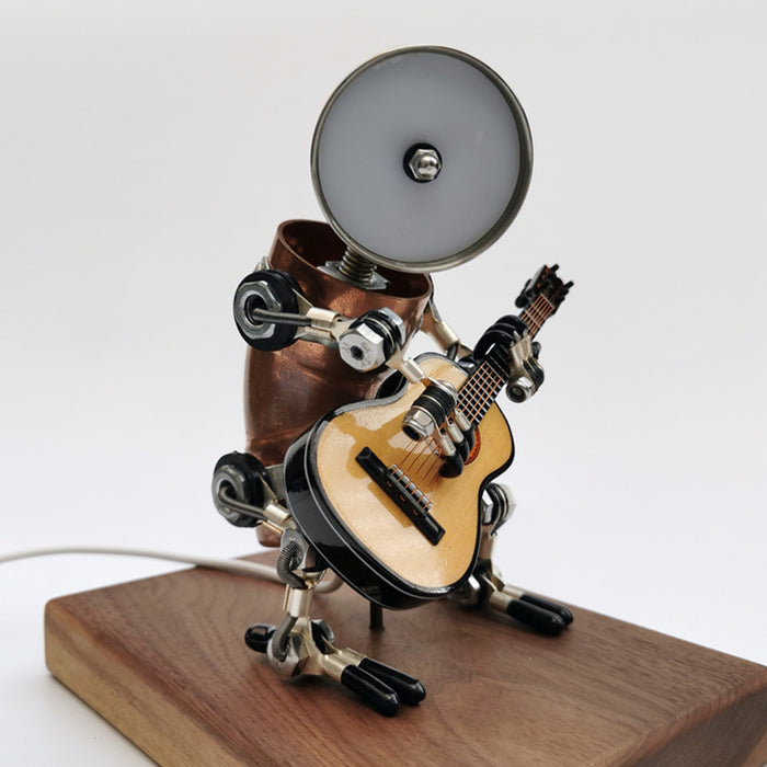 Steampunk Style Assembled 3D Metal Musician Bassists Model Lamp 2-IN-1Desk Decor  Crafts
