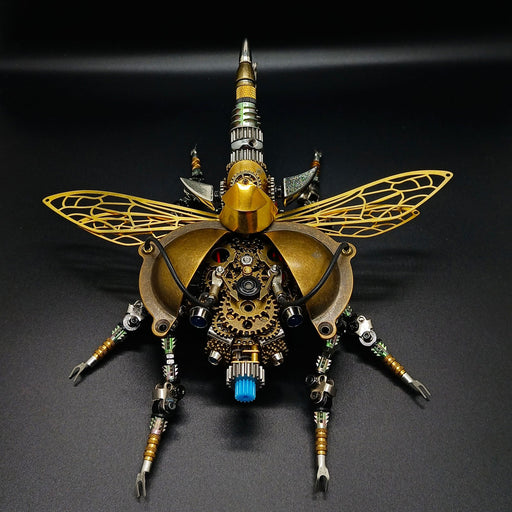 Assembly DIY 3D Metal Mechanical War Beetle With Sound Control Light