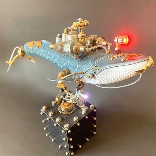 Creative 3D Blue Whale Animal Metal Steampunk Model with Base Handmade Assembled Crafts