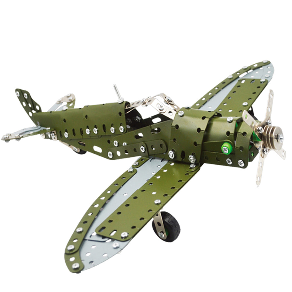 DIY Metal 3D Metal Green Classic Military Bomber Plane Assembly Model Kit