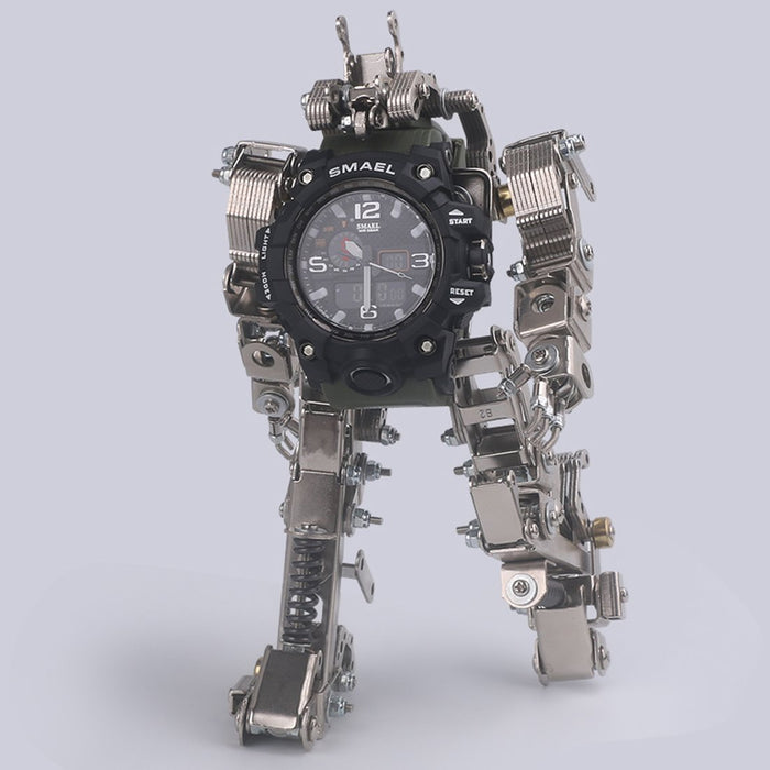 DIY Metal Assembly Robot Mecha Model 3D Puzzle Kits with Watch