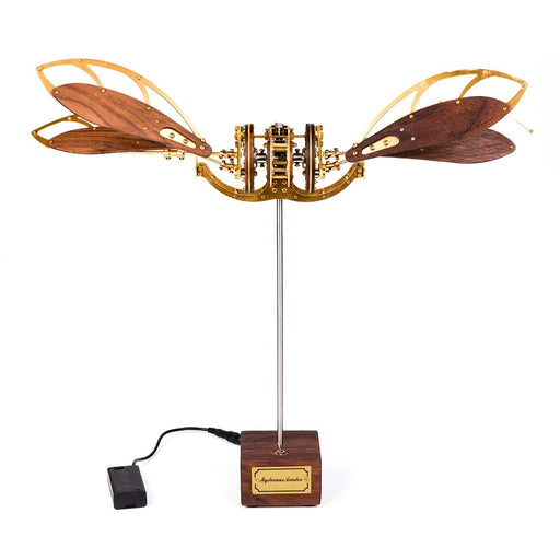 DIY Metal Wooden 3D Dynamic Mechanical Mystery Dragonfly Aircraft Puzzle Model