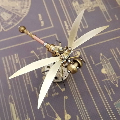 Golden 3D Metal Mechanical Steampunk Dragonfly  Insects Model with Random Base