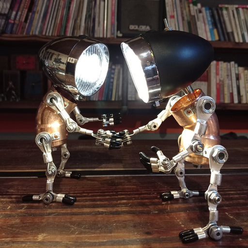 Industrial Style Table Lamp Man Figure 3D Steampunk Handmade Metal Models with Light