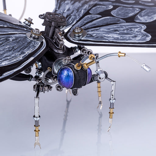 Mechanical Metal Black and White Butterfly Steampunk Insect Sculpture Art  Assembled