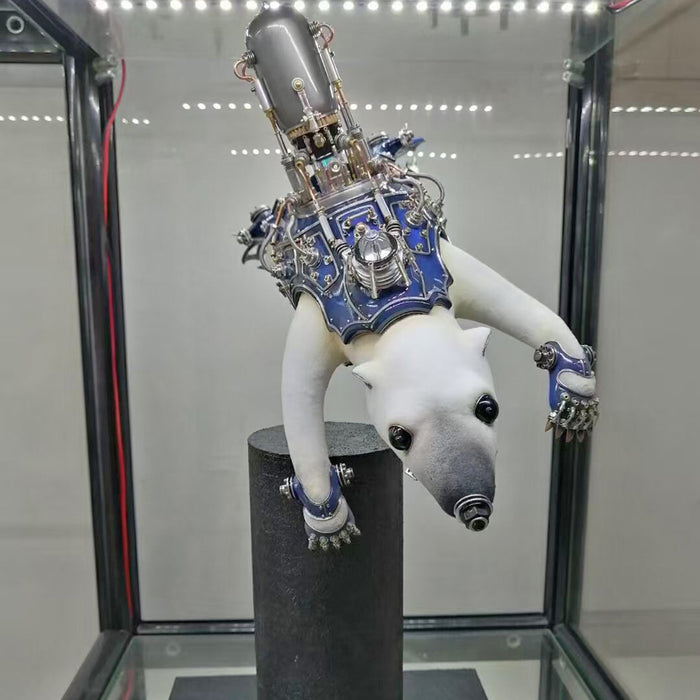 Metal Polar Bear Animal Steampunk Sculpture  Assembly Model Kits Crafts for Home Collection