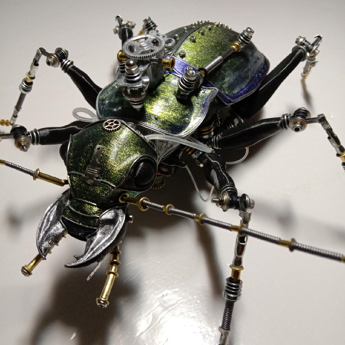 Steampunk Mechanical Metal Green Ground Beetle Insect Sculptures  Assembly