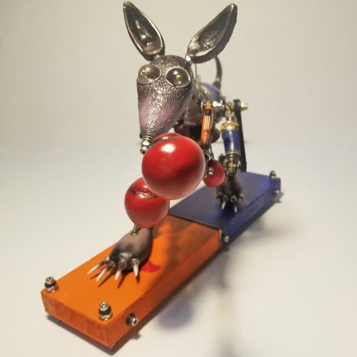 Steampunk Mechanical Metal Kangaroo Boxer  Assembly  Model Kits Animal Sculpture