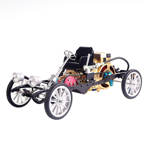 Teching British Retro-styled Metal Single Cylinder Engine Car Vehicle Assembly Model Toy for Adult