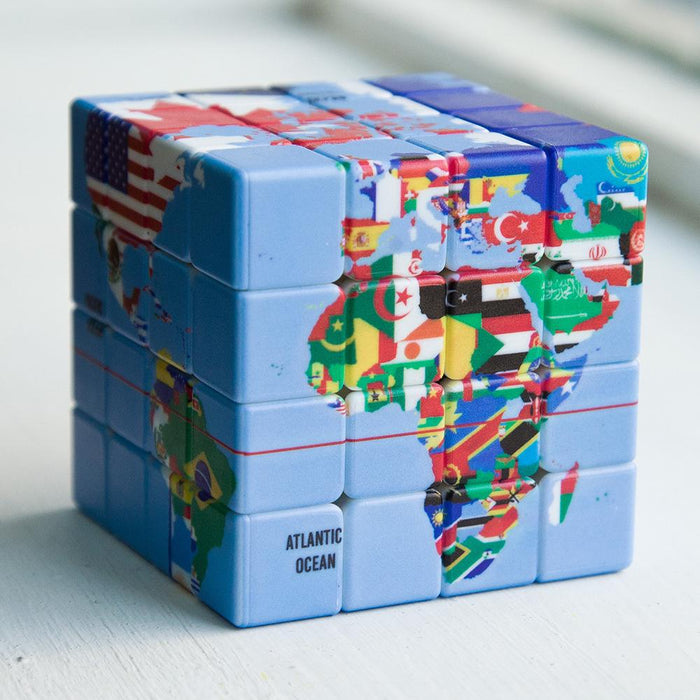 World Country Map Pattern 4x4 Speed Cube