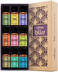 Natrogix Bliss Essential Oils - Top 9 100% Pure Essential Oil Set 9/10ml w/Free Recipe Book