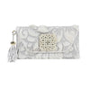Leather Hand Etched Envelope with Xinjiang Jade White