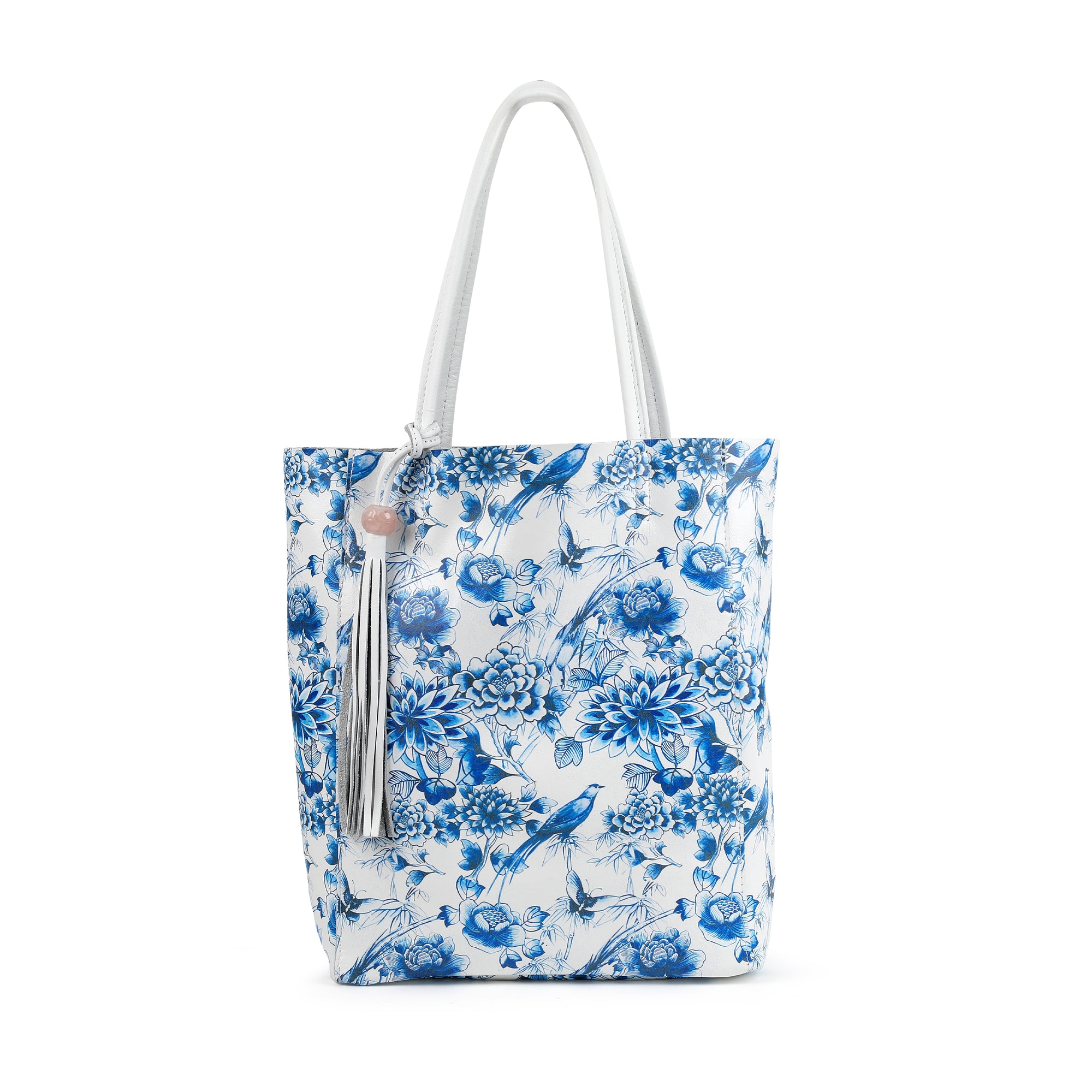 The Italian Leather Knot Shoulder Bag with Rose Quartz in Navy Blue $255
