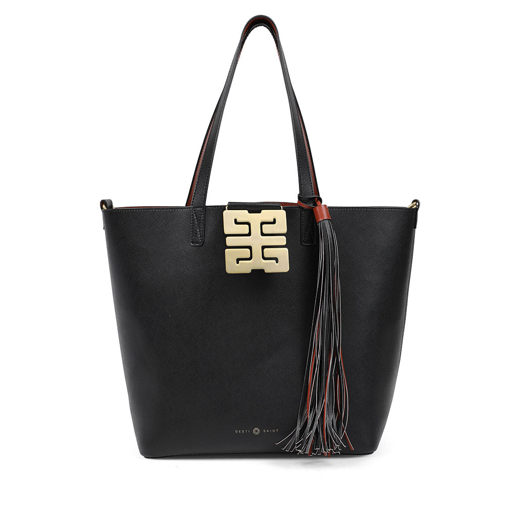 Italian Leather Shopper Black/Chestnut