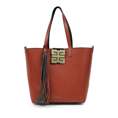 Italian Leather Shopper Black/Chestnut   $440