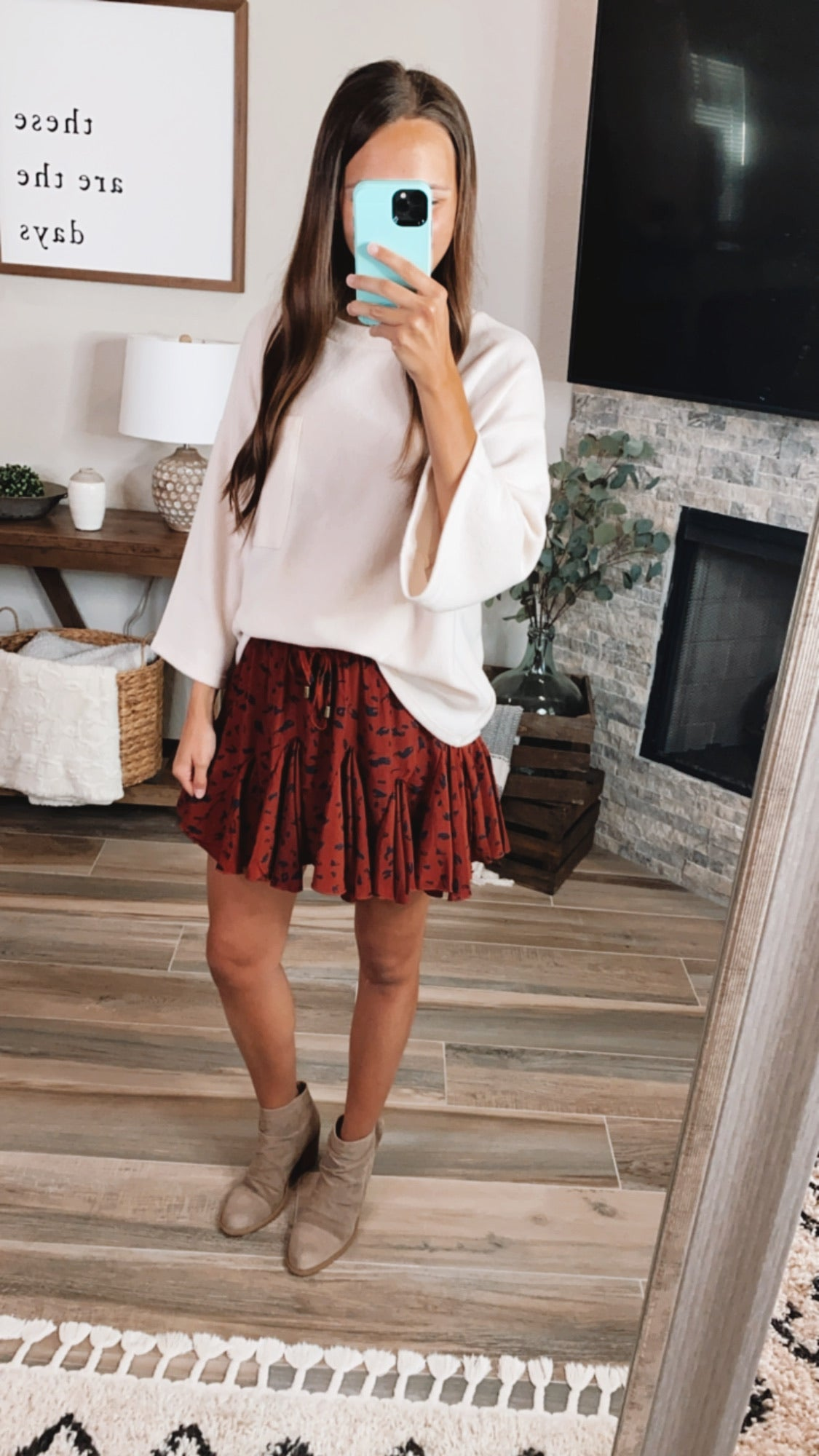 SPOTTED BRICK SKIRT