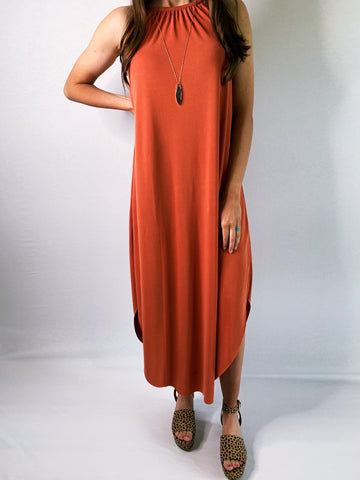 EVERYDAY RAW EDGE SLEEVELESS DRESS - Terra Cotta