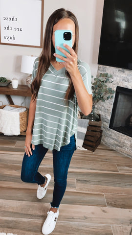 SAGE STRIPE TOP