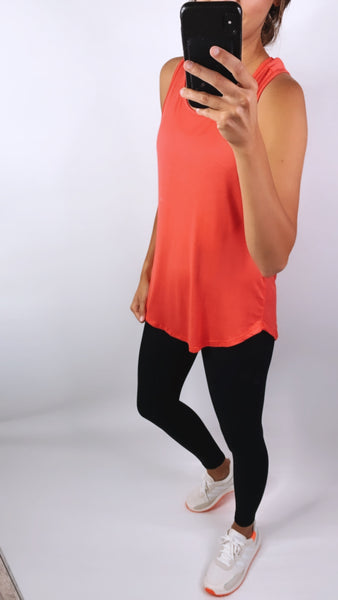 CROSS BACK TANK - Coral