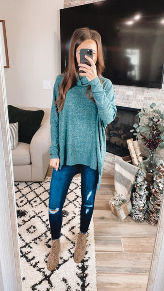 ANYTIME COWL NECK SWEATER - Hunter Green (S-XL)