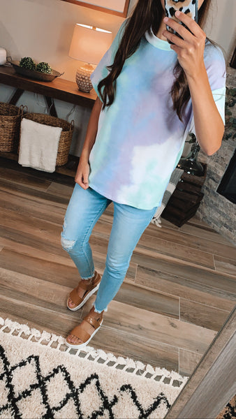 FOREVER YOUNG TIE DYE TOP - Mint/Lavender