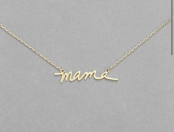MAMA SCRIPT NECKLACE - Matte Gold