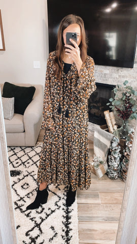 FLORAL CHIFFON PRINTED MAXI DRESS