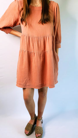 TEXTURED BABYDOLL DRESS - Coral