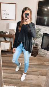 BONFIRE OVERSIZED SWEATER - Charcoal