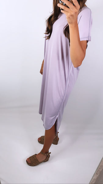 EVERYDAY RAW EDGE DRESS - Lavender Fog