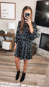 BLACK MIX SPOTTED DRESS