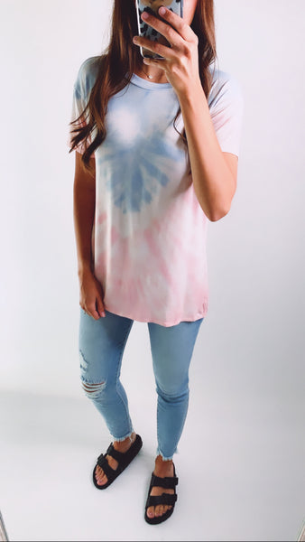 HAND DIPPED TIE DYE TOP - Light Blue / Pink
