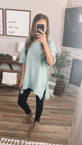 DUSTY MINT FRINGE TOP