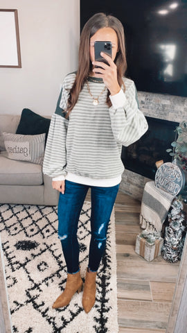 OLIVE STRIPE SWEATER