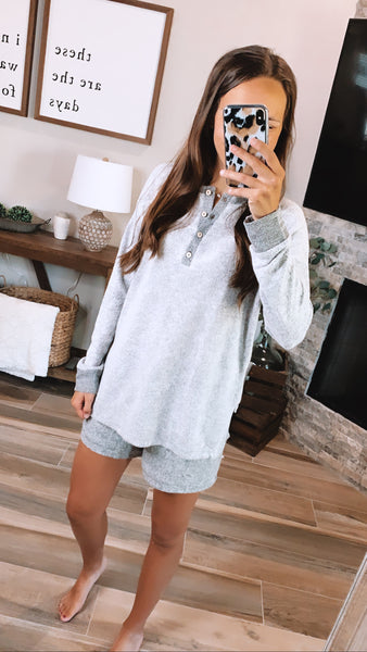 TOP NOTCH LOUNGEWEAR SET - Heather Gray