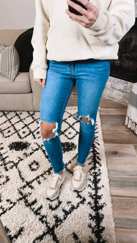 BUSTED KNEE SKINNY JEANS | 1-13