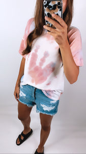 FOREVER YOUNG TIE DYE TEE - Blue/Pink