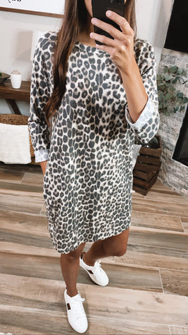 CALLIN MY NAME LEOPARD 3/4 SLEEVE DRESS
