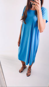EVERYDAY RAW EDGE DRESS - Malibu Blue