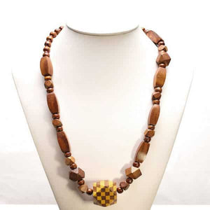 Cube  Teak Necklace