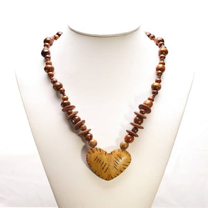 Heart2 Teak  Necklace