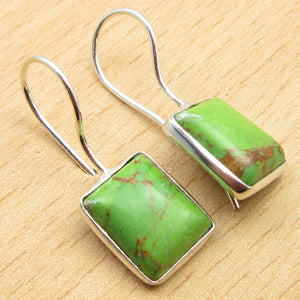 Square Green Copper Turquoise2 Drop Earrings