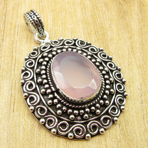 Artisan TribalStyled  Rose Quartz Pendant
