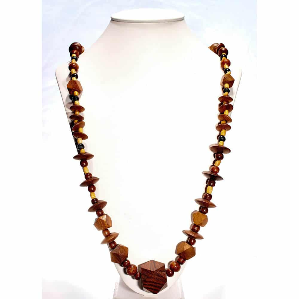 Spearcube3 Long Lariat Teak Necklace