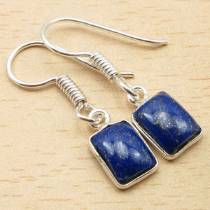 Square  Lapis Lazuli Dangling Earrings